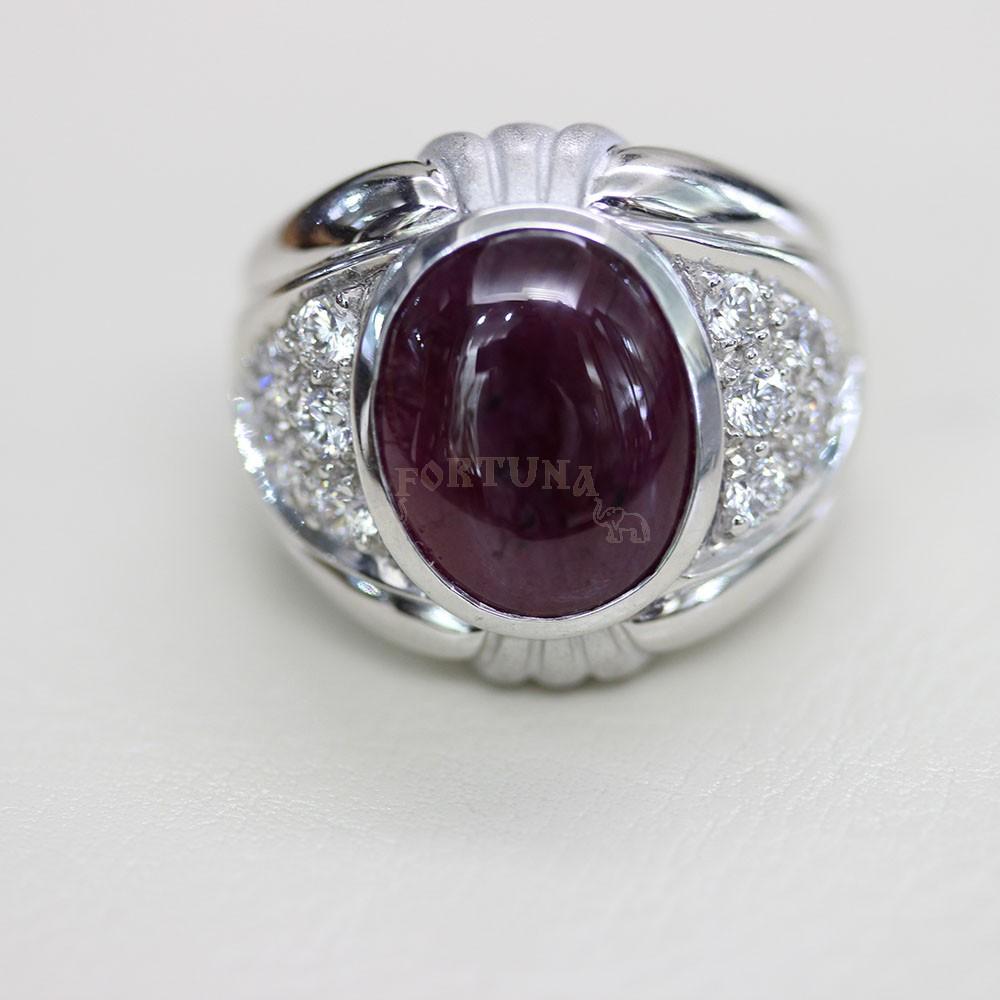 Мъжки пръстен, сребро и натурален рубин
