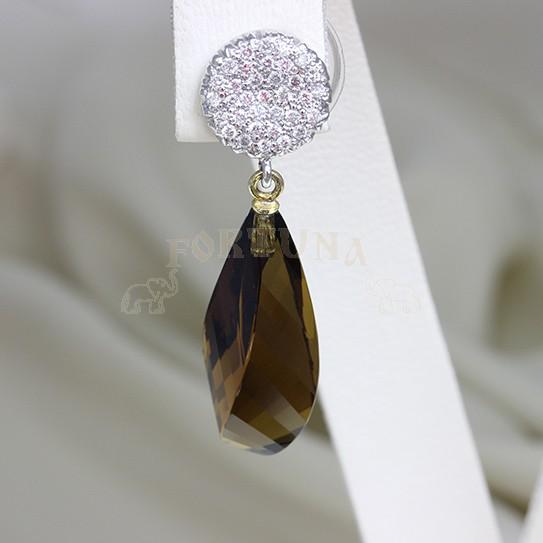 Златни обеци с топази и брилянти