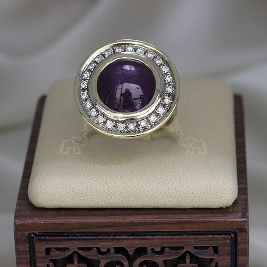 Златен пръстен с рубин и брилянти