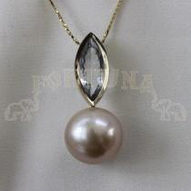 Златен медальон с перла и аквамарин