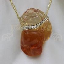 Златен медальон с огнен опал и диаманти