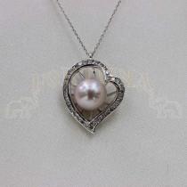 Златен медальон с розова перла и брилянт