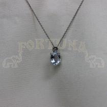 Медальон бяло злато с аквамарин и брилянт