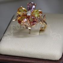 Златен пръстен със сапфири и брилянти