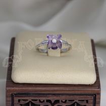 Златен пръстен с аметист и брилянт