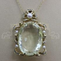 Златен медальон с топаз, брилянти и перли