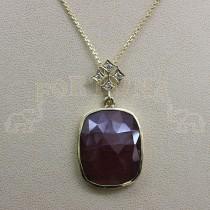 Златен медальон със сапфир и брилянти
