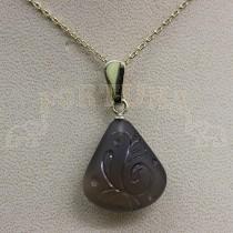 Златен медальон с опушен кварц