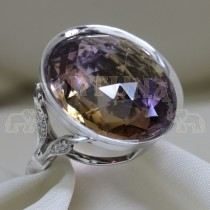 Златен пръстен с аметрин и брилянти