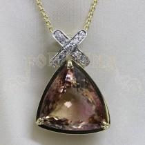 Златен медальон с турмалин и брилянти
