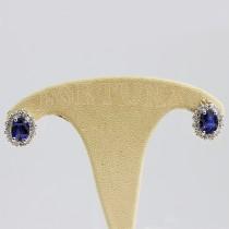 Златни обеци със син сапфир и брилянти