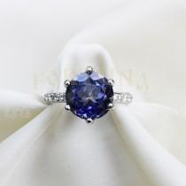 Златен пръстен със син топаз и брилянти