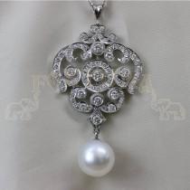 Платинена брошка с перла и брилянти