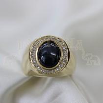 Мъжки пръстен с брилянти и звезден сапфир