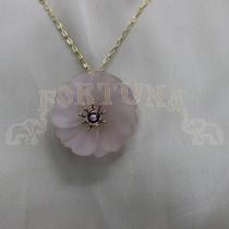 Медальон розов кварц и турмалин