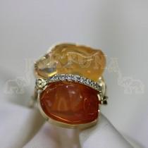Дамски пръстен с огнен опал и брилянти