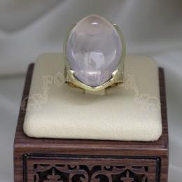 Злтен пръстен с розов кварц