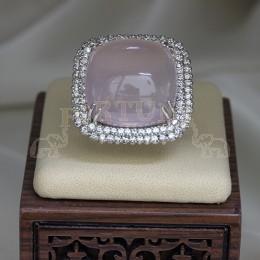 Злтен пръстен с розов кварц и брилянти